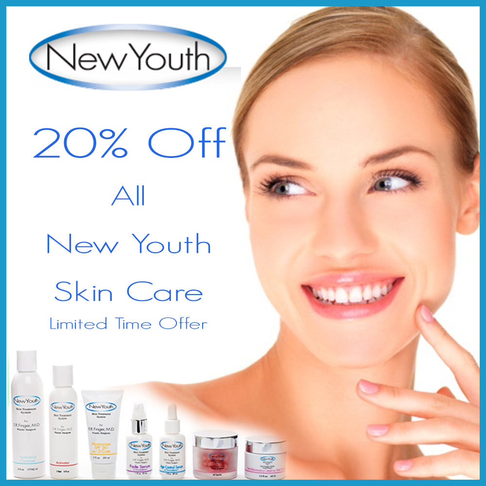 20% Off in January of 2019. New Youth Skin Care Specials